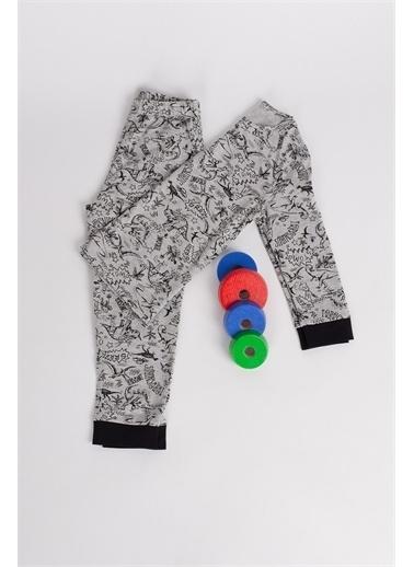 Hays Hays 60450C71S412119 Bisiklet Yaka Uzun Kollu Desenli Erkek Çocuk Pijama Takımı Gri